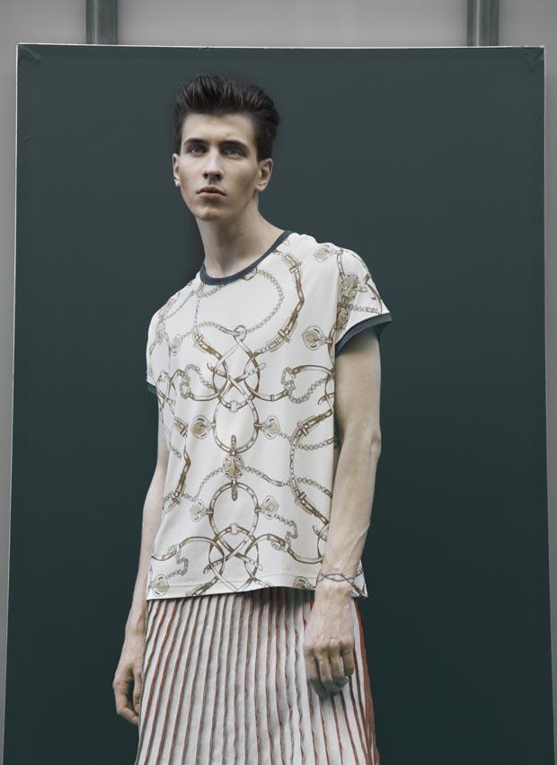 T-shirt tissu vintage et jupe en lin plissée accordéon peinte à la main, M'S BRAQUE