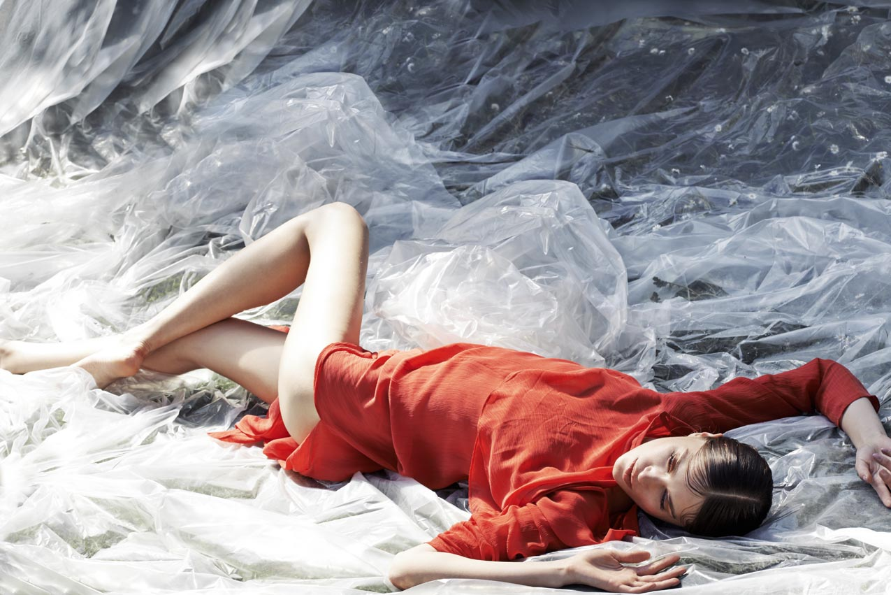 Robe en mousseline rouge : KENZO