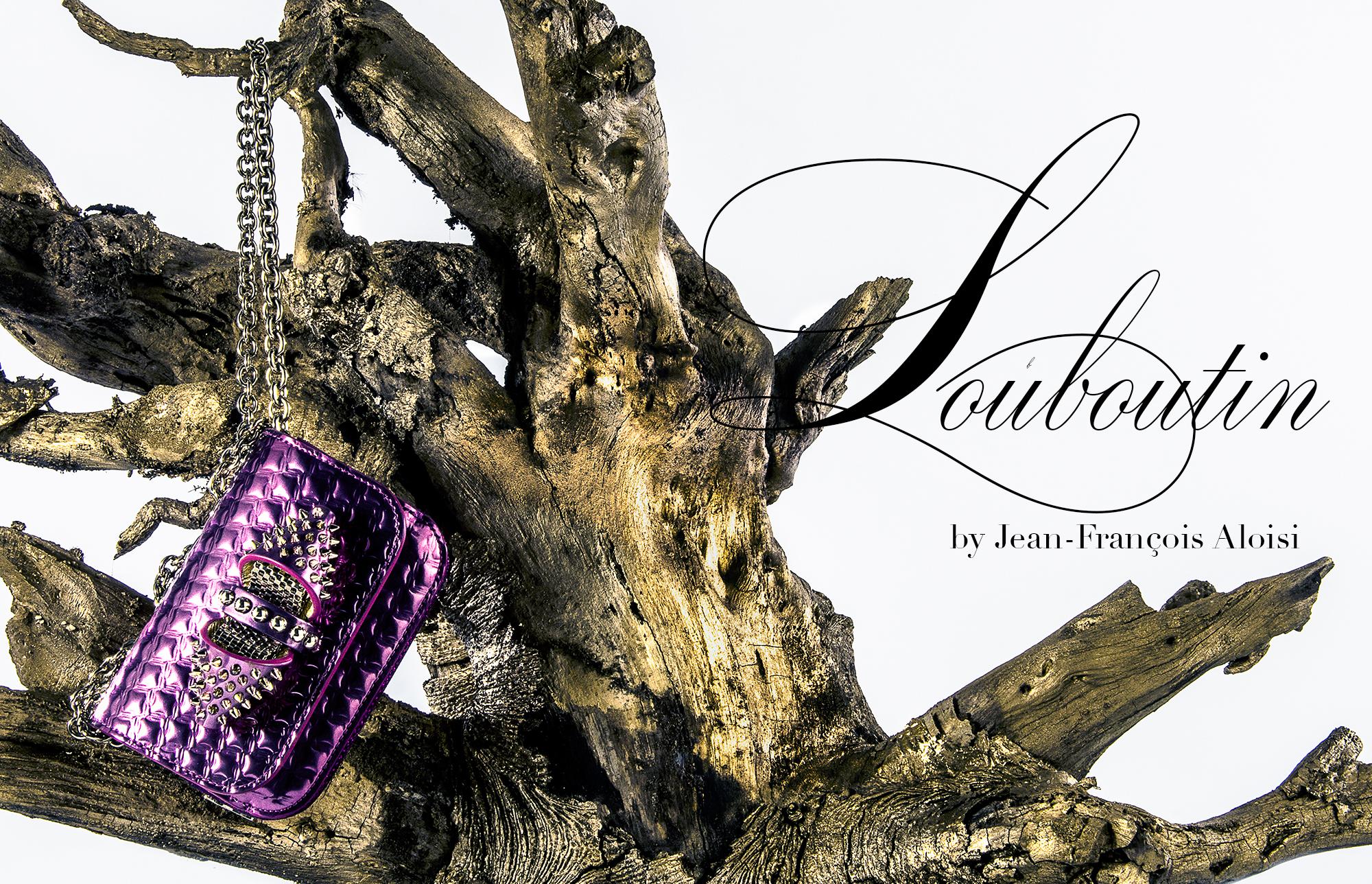 Sac en cuire métal violet chaine CHRISTIAN LOUBOUTIN Sweety Charity Sac Chaine Modèle Mini